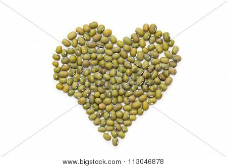 Pile Of Mung Beans On White.
