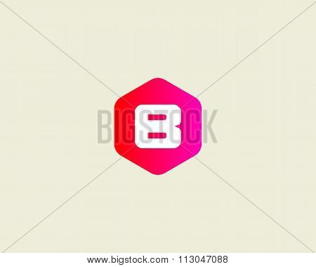 Abstract letter B logo design template. Colorful creative hexagon sign. Universal vector icon.