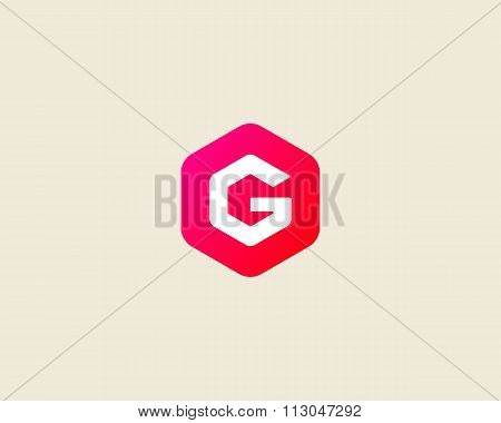 Abstract letter G logo design template. Colorful creative hexagon sign. Universal vector icon.