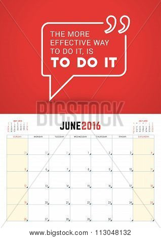 June 2016. Wall Calendar Planner For 2016 Year. Week Starts Sunday. Vector Design Print Template Wit