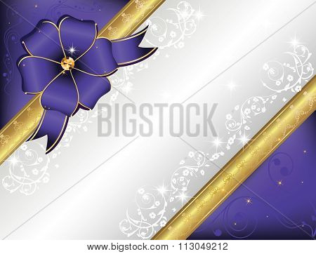 Blue Invitation card with a big ribbon.