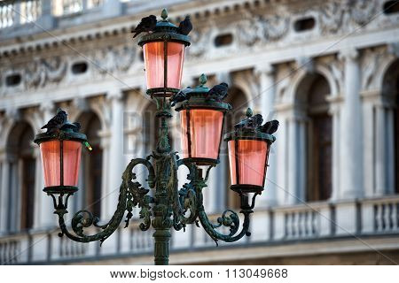 Lamp On Piazza San Marco In Venice