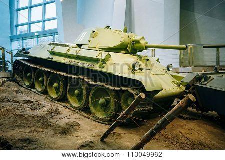 Soviet russian medium tank T-34 in Belarusian Museum Of Great Pa