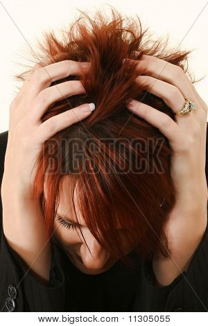 Stressed Or Upset Redhead Woman