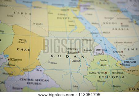 Sudan On Map..