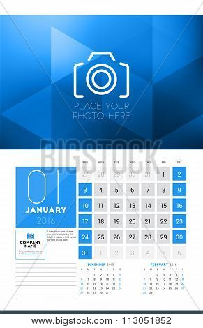 Calendar For 2016 Year. January. Vector Design Clean Template With Modern Abstract Background, Logo