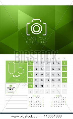 Calendar For 2016 Year. May. Vector Design Clean Template With Modern Abstract Background, Logo And