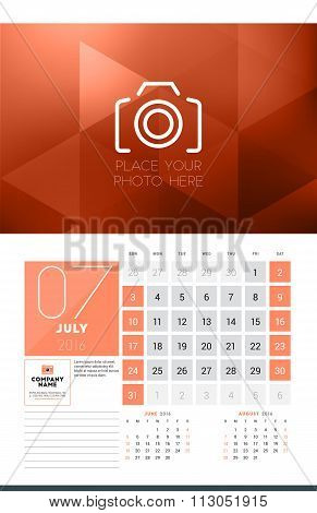 Calendar For 2016 Year. July. Vector Design Clean Template With Modern Abstract Background, Logo And