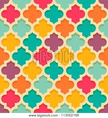 Vintage oriental quatrefoil seamless pattern