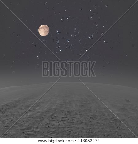 Desert landscape with starry and Moonlit skies.