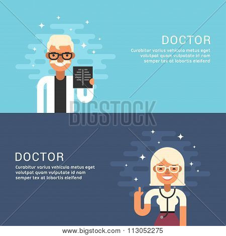 People Profession Concept. Doctor. Male And Female Cartoon Characters Doctors. Flat Design Concepts