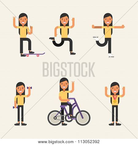 Kinds Of Sport. Set Of Flat Style Vector Illustrations Of Young Girl Engaged In Various Sports. Skat