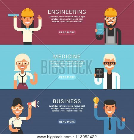 Set Of Flat Style Vector Conceptual Illustrations For Web Banners. People Occupation. Engineering, M
