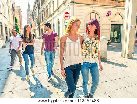 Students Walking Outdoors