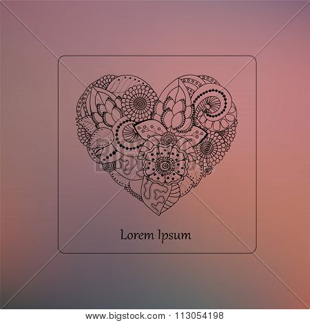 Stock Vector Abstract Isolated Heart On The Blurred Background. Card, Poster, Banner Template