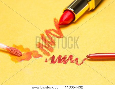 Lip Makeup Cosmetics On Yellow Background