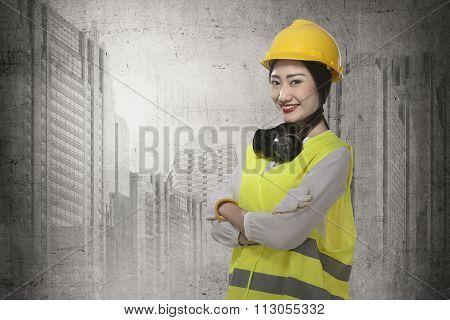 Asian Business Woman Wearing Yellow Helmet Smile