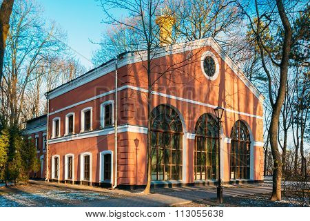 Building Winter Garden in city park, in Gomel, Belarus