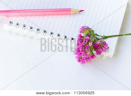 jotter, pencil and flower