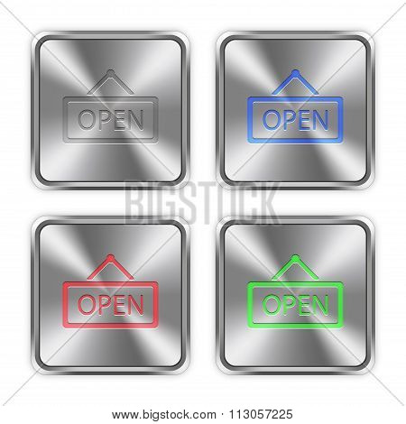Color Open Sign Steel Buttons