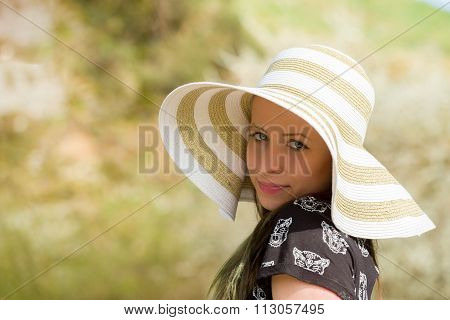 Cheerful Fashionable Woman With Hat
