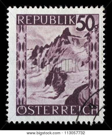 AUSTRIA - CIRCA 1945: stamp printed by Austria, shows Silvretta Mountains, Vorarlberg, circa 1945