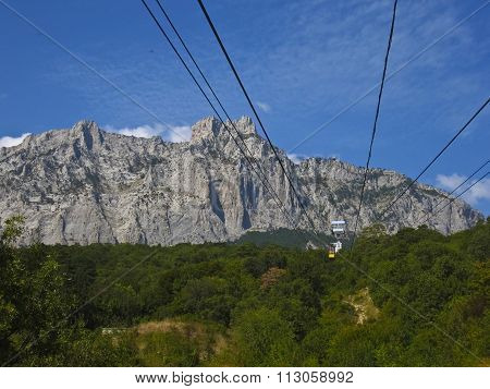 Aerial Cableway On I-petri Mountain, Crimea, Ukraine.