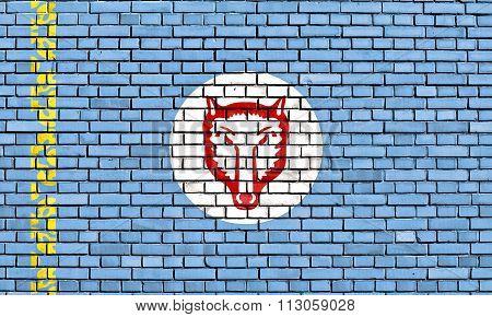 Flag Of Gagauz People Painted On Brick Wall