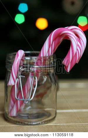 Christmas candies in a glas jar