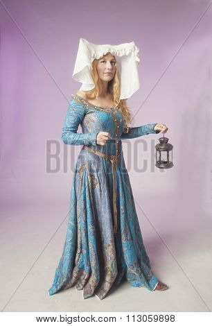 Medieval Noblewoman With A Lamp