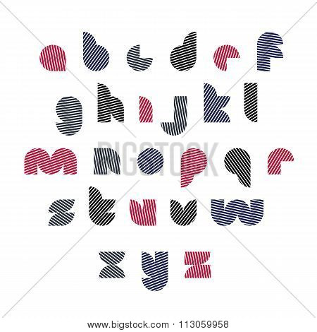 Black And Red Unusual Rounded Typescript With Diagonal Parallel Lines, Colorful Circle Lowercase Let