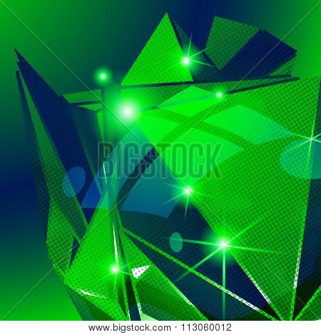 Plastic grain green dimensional geometric template sparkling background.