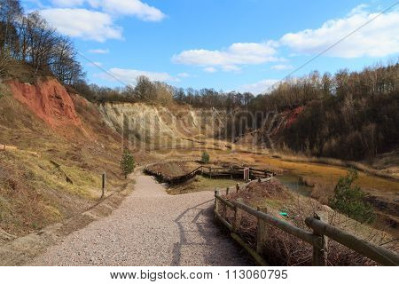 Lieth Lime Pit and blue sky in Elmshorn, Germany