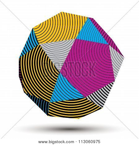 Geometric Colorful Polygonal Striped Structure, Modern Science And Technology Vector Element. Archit