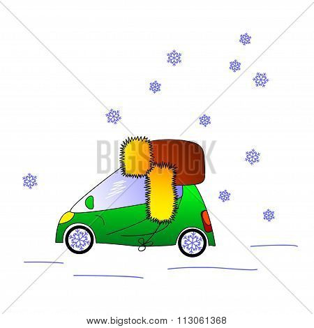 Green car in hat, winter illustration