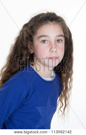 Ten Year Old Caucasian Girl With Long Hair Posing Isolated