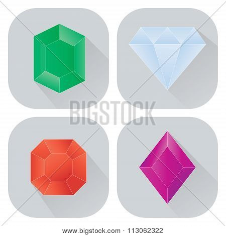 set of monochrome icons with diamonds