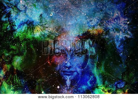 goodness woman and bird with ornamental mandala, space background with stars. eye contact. titmouse