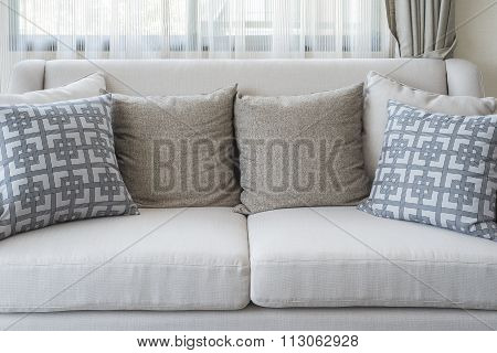 Pillows On Classic Sofa In Living Room