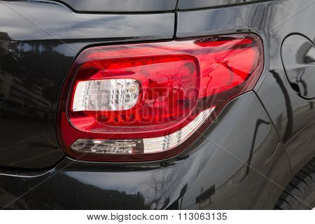 Led Headlights Of Car On Black Background. Exterior Detail.