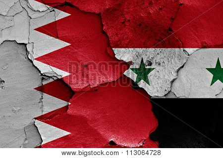 Flags Of Bahrain And Syria Painted On Cracked Wall