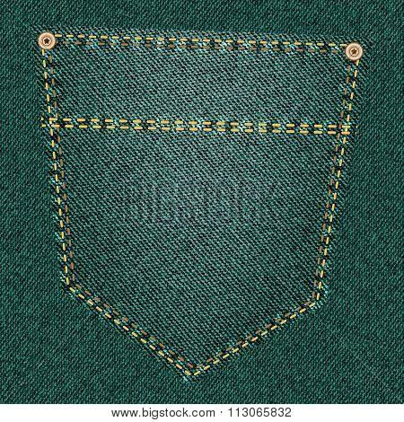 Green jeans pocket