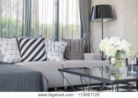 Modern Living Room With Modern Sofa And Pillows