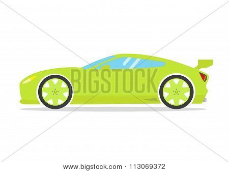 Race Sport Car. Supercar Tuning Coupé Auto .flat Style Vector Transportation Vehicle Illustration