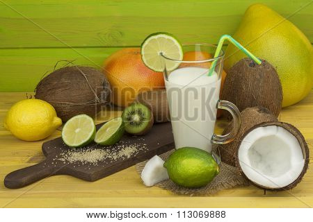Preparing coconut refreshing drink. Tropical drink.