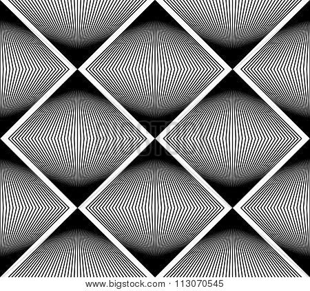 Geometric Monochrome Stripy Seamless Pattern, Black And White Vector Abstract Background. Graphic
