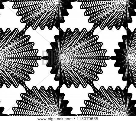 Continuous Vector Pattern With Black Graphic Lines, Decorative Abstract Background, Geometric