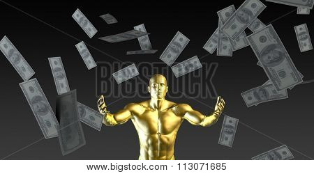 Happy Businessman Under a Rain of Cash and Money
