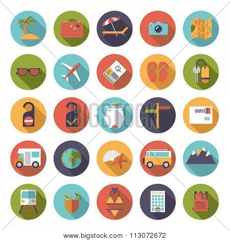 Flat Design Travel and Vacation Round Icon Set. Collection of flat design travel and vacation vector icons in circles