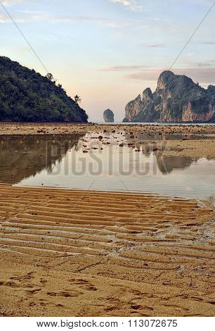 Amazing low tide at sunset on Koh Phi Phi Island, Thailand